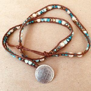Jewelry - Swarovski crystal, pearl, leather wrap bracelet